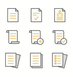 Document flat line icon set vector