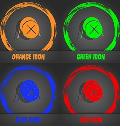 Drum icon Fashionable modern style In the orange vector image