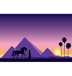 Egypt Great Pyramids on sunset background vector