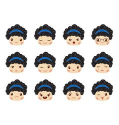 Emoji set girls avatar collection vector
