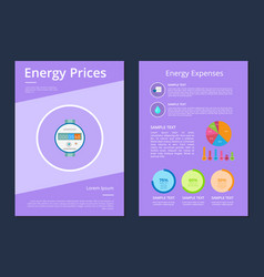 energy prices and expenses two statistics posters vector image