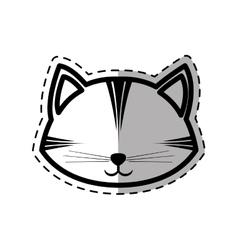 Face cat feline curious small dot line shadow vector