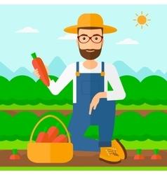 Farmer collecting carrots vector