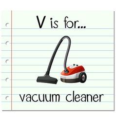 Flashcard letter V is for vacuum cleaner vector