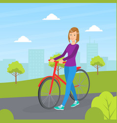 girl standing next to bicycle young woman riding vector image