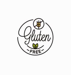 Gluten free logo round linear gluten wheat vector