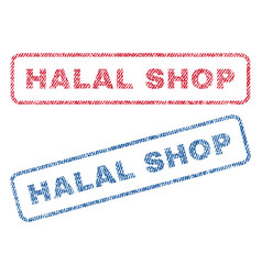 Halal shop textile stamps vector