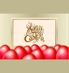 Happy easter lettering modern calligraphy red egg vector