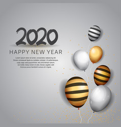 Happy new year 2020 black number with balloons vector