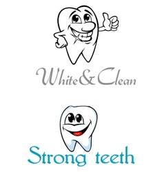 Happy smiling cartoon teeth for logo or emblem vector image