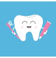 Healthy tooth holding toothpaste and toothbrush vector image