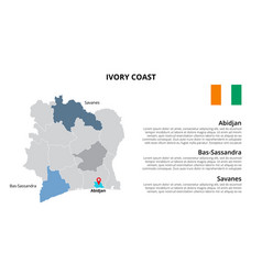 Ivory coast map infographic template vector