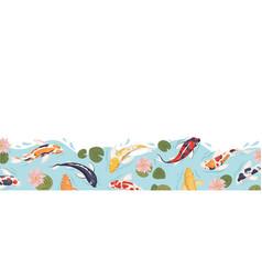 japan koi fish border sea japanese carp swimming vector image
