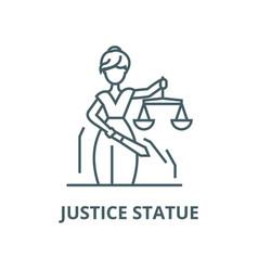 Justice statue line icon linear concept vector