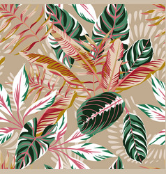 leaves seamless beige background vector image