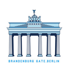 Line art brandenburg gate berlin germany vector