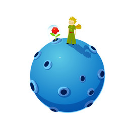 Little boy planet and flower vector