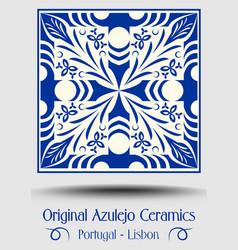Majolica pottery tile blue and white azulejo vector
