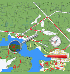 map with travel planning vector image