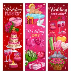 Marriage ceremony invitations wedding day symbols vector