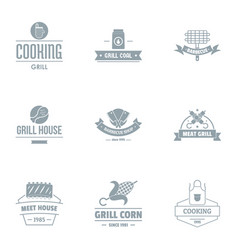 meal house logo set simple style vector image