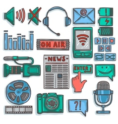 Media sketch icons set color vector image