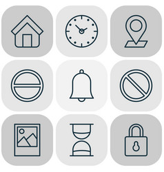 network icons set with sand timer picture clock vector image