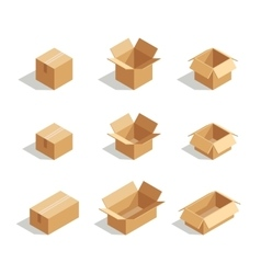 Open boxes set 3d isometric vector