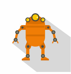 Orange abstract robot icon flat style vector
