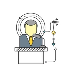 Orator Standing Behind a Podium with Microphones vector image