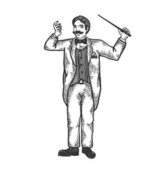 Orchestral conductor engraving vector