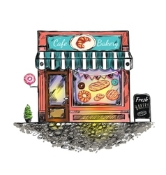 Outdoor Cafe Bakery Sketch vector image