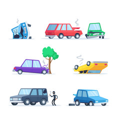 Pictures set of different accidents vector