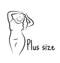 Plus size model woman sketch Hand drawing style vector