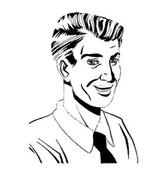 pop art man laughing wearing shirt and tie sketch vector image