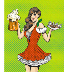 Pop art of girl with beer and vector