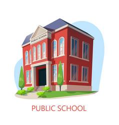 Public school elementary education building vector
