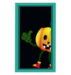Pumpkin at door on white background vector