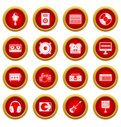 recording studio items icon red circle set vector image