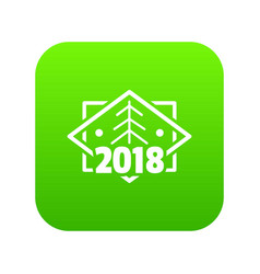 retro christmas tree icon green vector image
