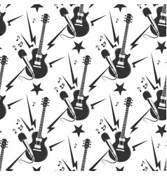 rock music seamless pattern with guitars vector image