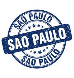 Sao paulo blue grunge round vintage rubber stamp vector