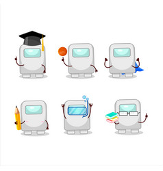 School student among us white cartoon vector