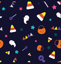seamless pattern ghost halloween festival vector image
