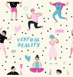 seamless pattern people virtual reality glasses vector image