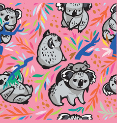 seamless pattern with cute koala bears in vector image