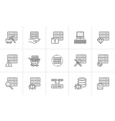 server hand drawn outline doodle icon set vector image