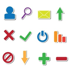 set 12 web sticker icons vector image