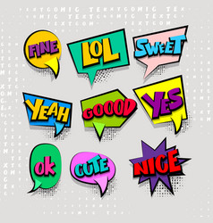 Set cartoon comic text colored cloud vector