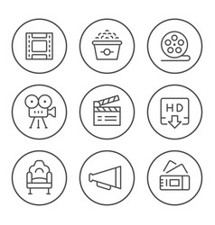set round line icons movie vector image